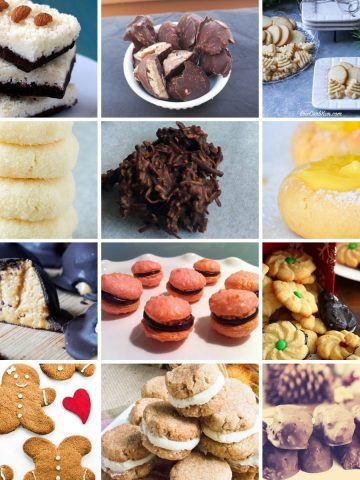 feature image with 12 images of different keto cookies