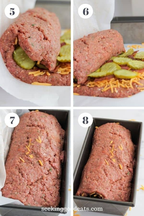 4 part image depicting how to make this meatloaf. Carefully roll up the stuffed meatloaf and place in pan to bake.