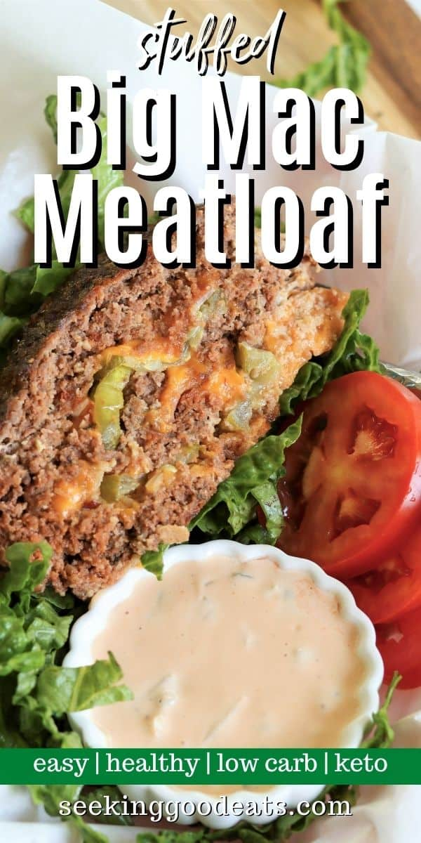 Pinterest pinnable image of meatloaf served in a fast food basket with a side of homemade big mac sauce. Served on a bed of lettuce with a side of tomatoes.