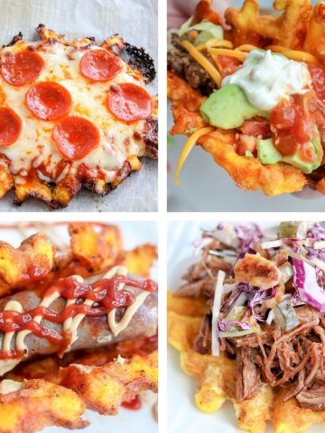 4 part featured image showing pizza chaffle, taco chaffle, bratwurst in a chaffle, and a pulled pork chaffle