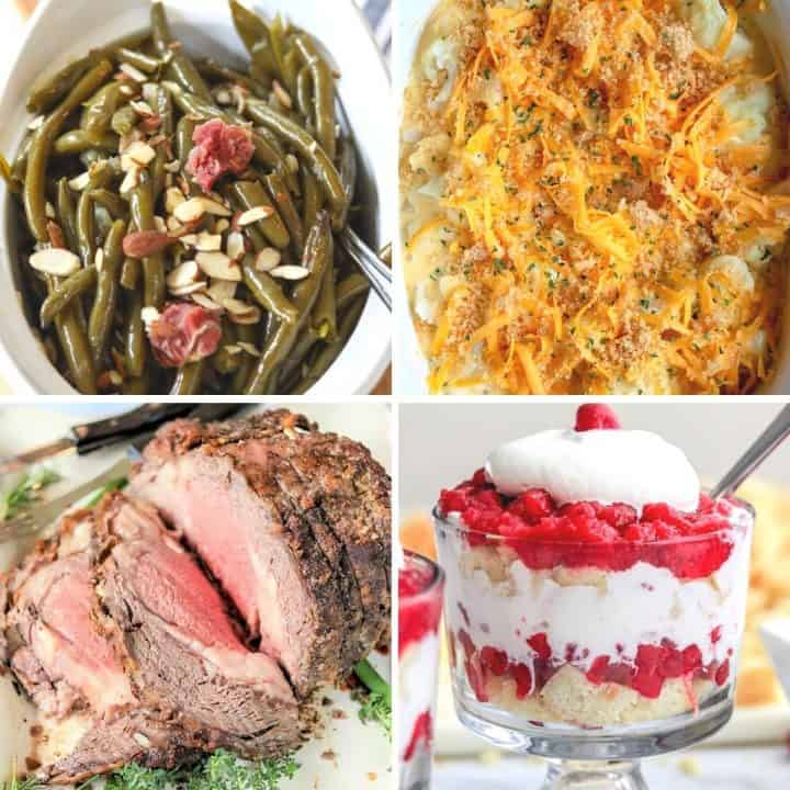 4 part square image with crockpot green beans, prime rib, caulfiflower cheese, and cranberry trifle.