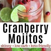 Pinterest pin featuring cranberry mojitos garnished with sprigs of mint and red cranberries.