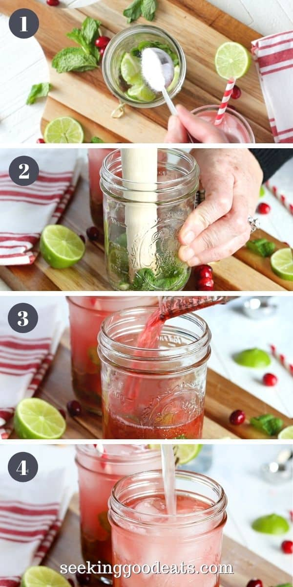 4 part image depicting how to make cranberry mojitos. Please see recipe card for full instructions.