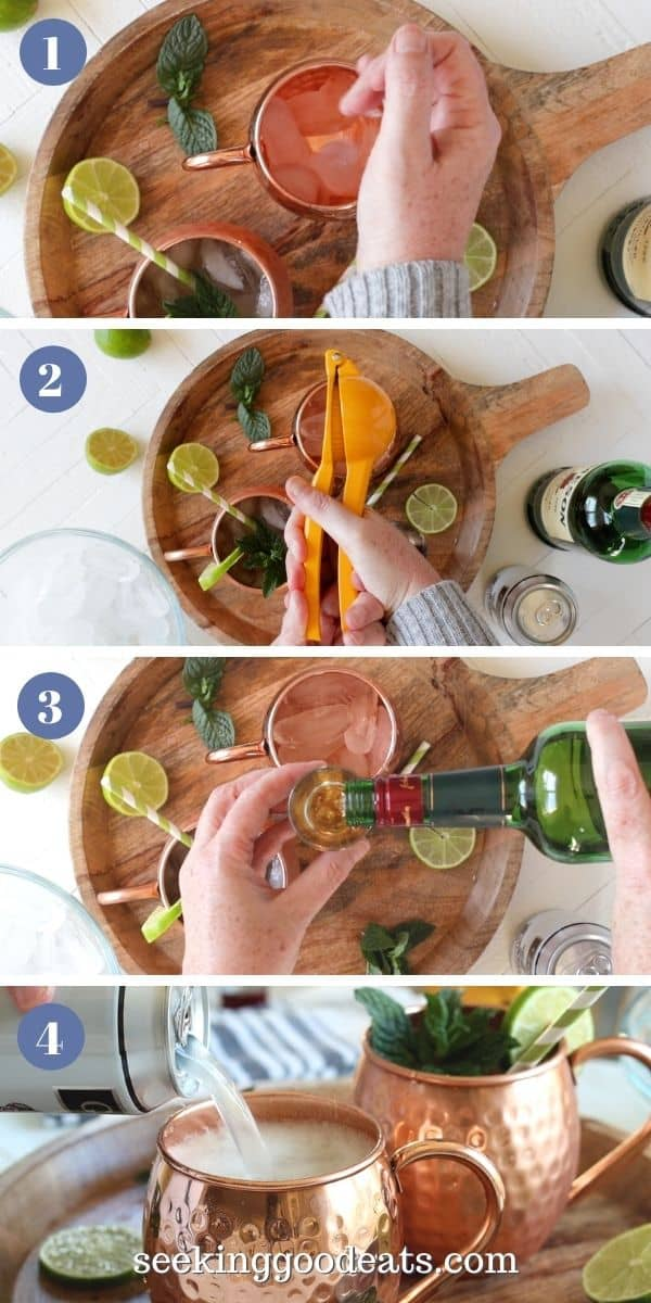 4 part image depicting how to make an Irish mule cocktail. Please see recipe card for full instructions.
