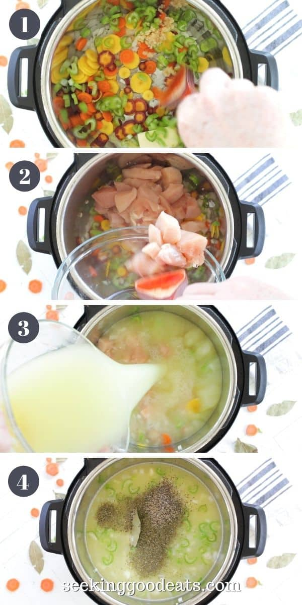 4 part image depicting how to make instant pot chicken soup. Please see recipe card for full instructions.