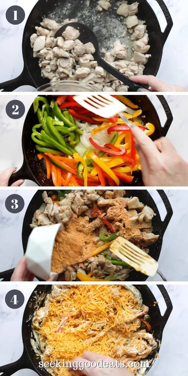 4 part image depicting how to make chicken fajita bake. Please see recipe card for full instructions.