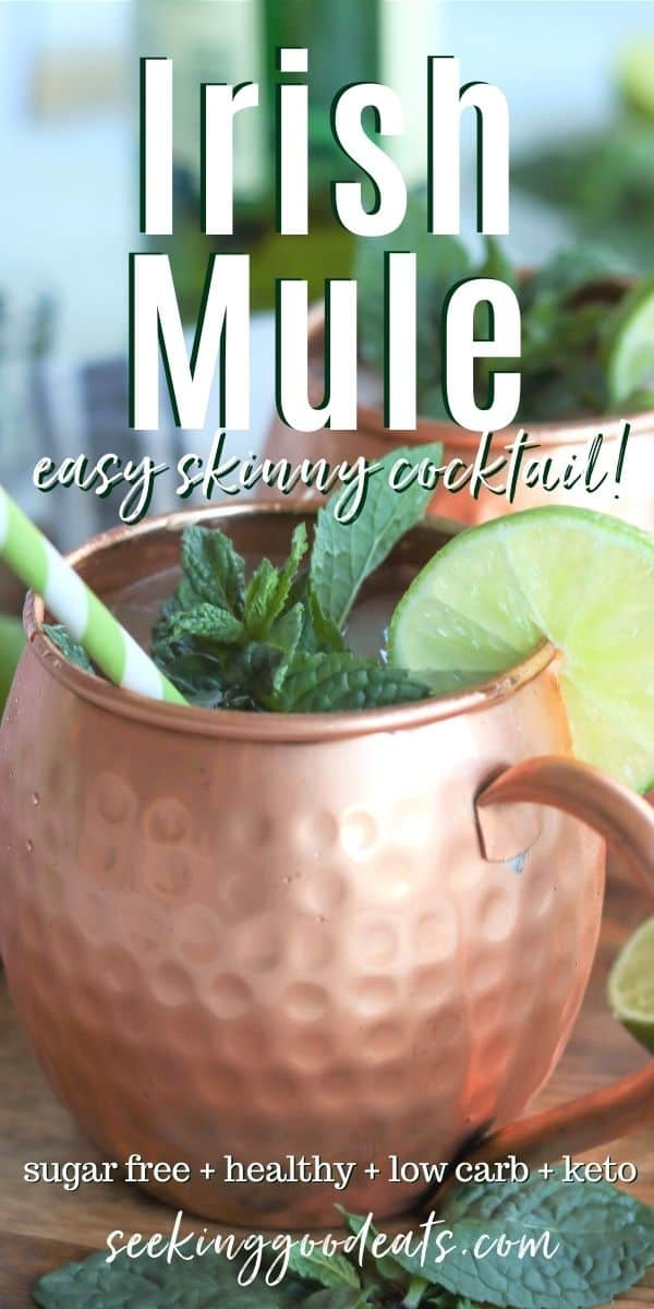 Pinterest pin with side view of irish mule in a copper mule mug garnished with a lime and mint and a green and white striped straw.