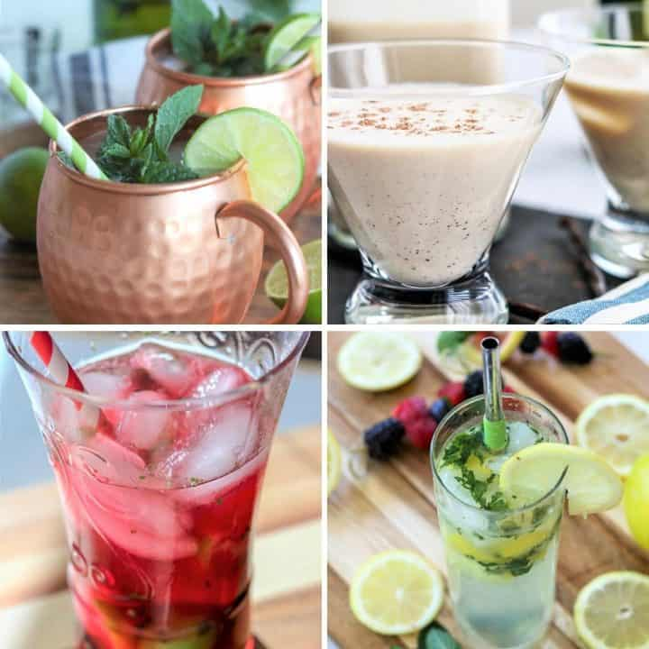 4 part image featuring 4 keto cocktails. Irish Mule, Cranberry Mojitos, Lemon Mojito, and Irish Cream.