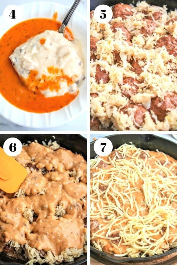 4 part image depicting how to make meatball casserole steps 4 through 7. Please refer to recipe card for full instructions.
