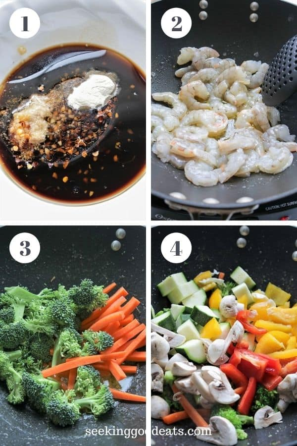 4 part image depicting steps 1 to 4 of how to make shirmp stir fry. See recipe card for full instruction.