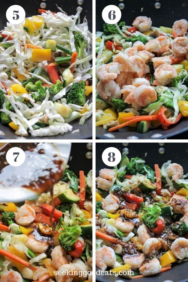 4 part image depicting steps 4 to 8 of how to make shirmp stir fry. See recipe card for full instruction.