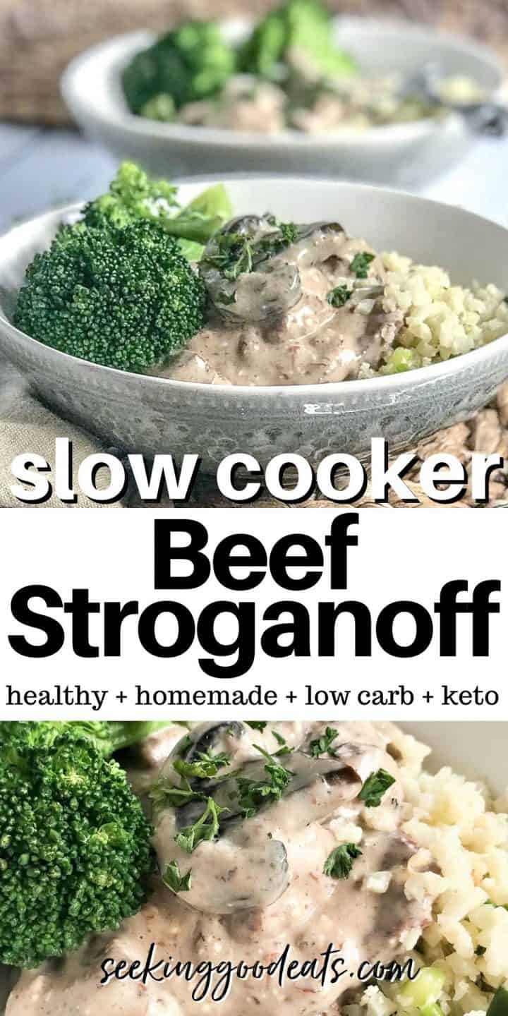 Pinterest pin featuring two closeup images of stroganoff served in a gray bowl over riced caulflower, ready to eat.