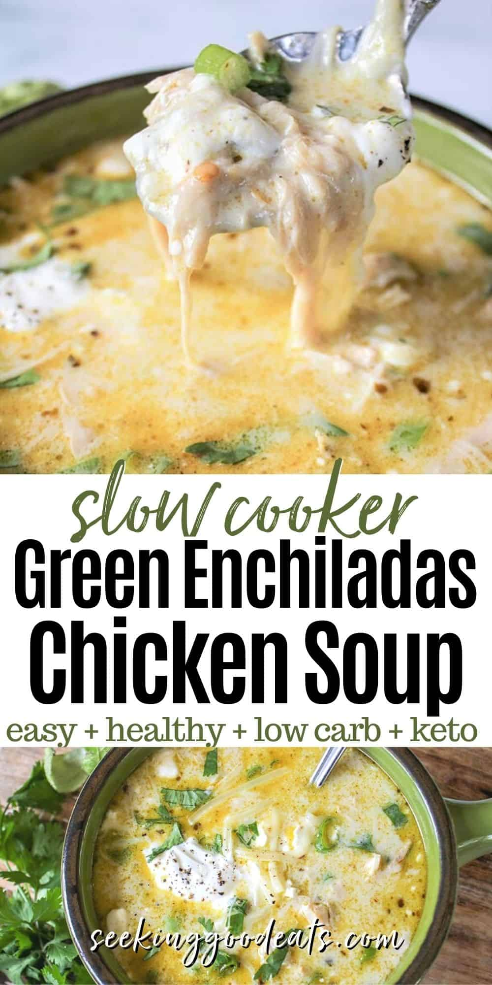 Green Enchiladas Chicken Soup (Keto Slow Cooker Mexican Soup)