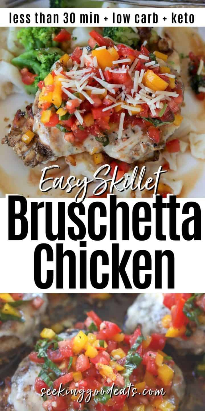 Pinterest pinnable image showing bruschetta chicken served on a plaste and just after baking while still in the skillet