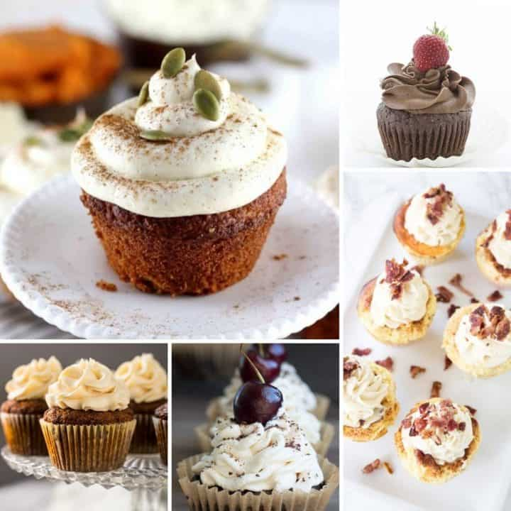 Feature image with 5 cupcakes you can enjoy while on a low carb sugar free keto diet.