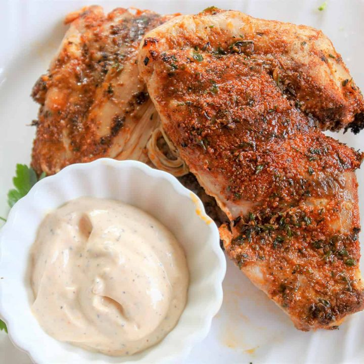 Square feature image of juicy dry rub grilled chicken served on a white plate with a side of white bbq sauce