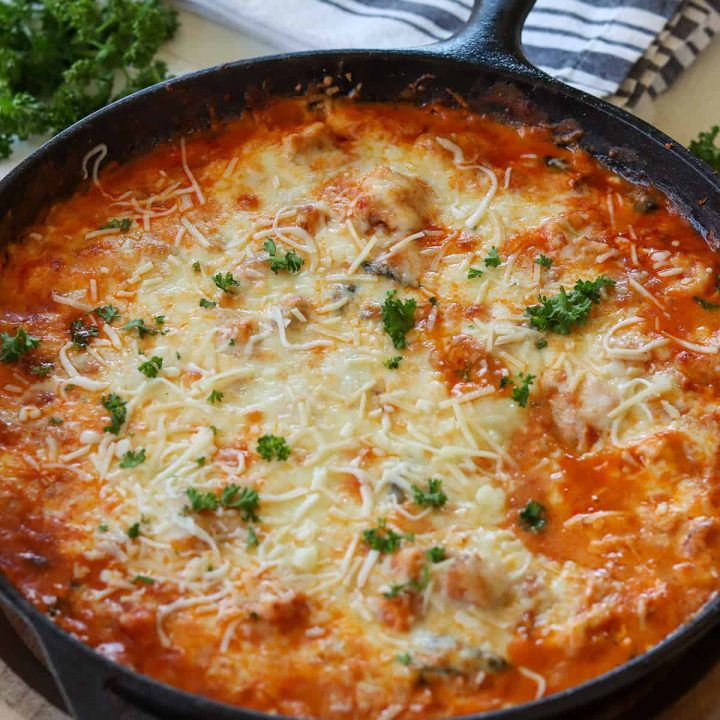 Feature image of chicken parmesan casserole