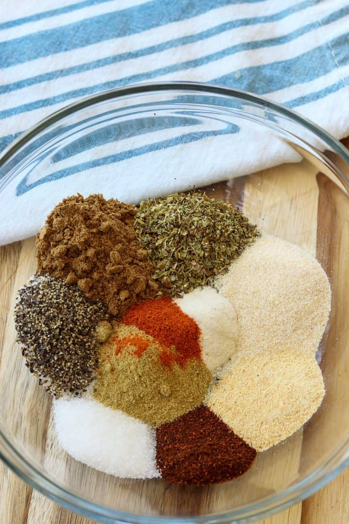Ingredients for making white chicken chili seasoning mix gathered together
