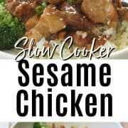 Pinterest pinnable image of slow cooker sesame chicken served in a white bowl with a side of steam broccoli and garnished with green onion and sesame seeds. Second image is uncooked recipe with all ingredients in a white crock pot