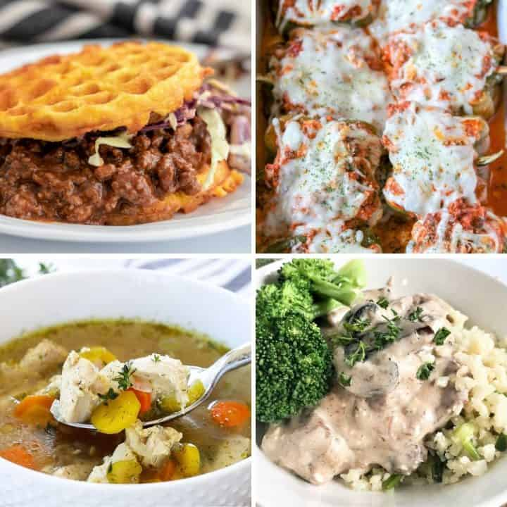 Square feature image of four keto dinner ideas from sloppy joes, lasagna stuffed peppers. chicken soup, and beef stroganoff