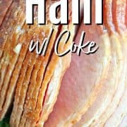 Pinterest pin with a closeup image of slow cooker ham with coke on a platter ready to eat,