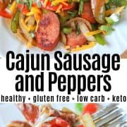 Pinterest pin with two images of cajun sausage and peppers served on a white plate and garnished with sour cream cilantrol and seasoning.
