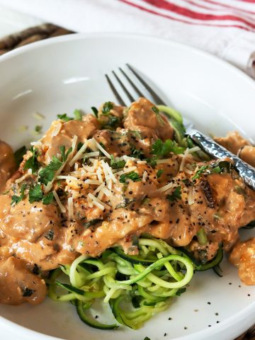 Low Carb Chicken in Tomato Basil Cream Sauce, Seeking Good Eats