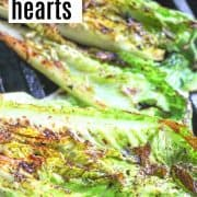 Pinterest pin featuring a closeup view of grilled romaine hearts grilling on the bbq