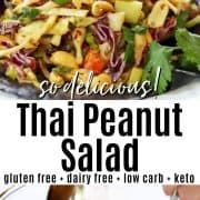 Pinterest pin featuring two image. The first is of thai peanut salad served in a red cabbage leaf on a white plate. The second is off the salad being tossed in a clear bowl.