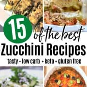 Pinterest pin featuring four image of low carb and keto zucchini recipes