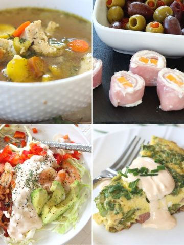 Square feature image of 4 easy keto lunch ideas. Ham and cheese roll ups, chicken soup, shrimp salad, and eggs benedict frittata