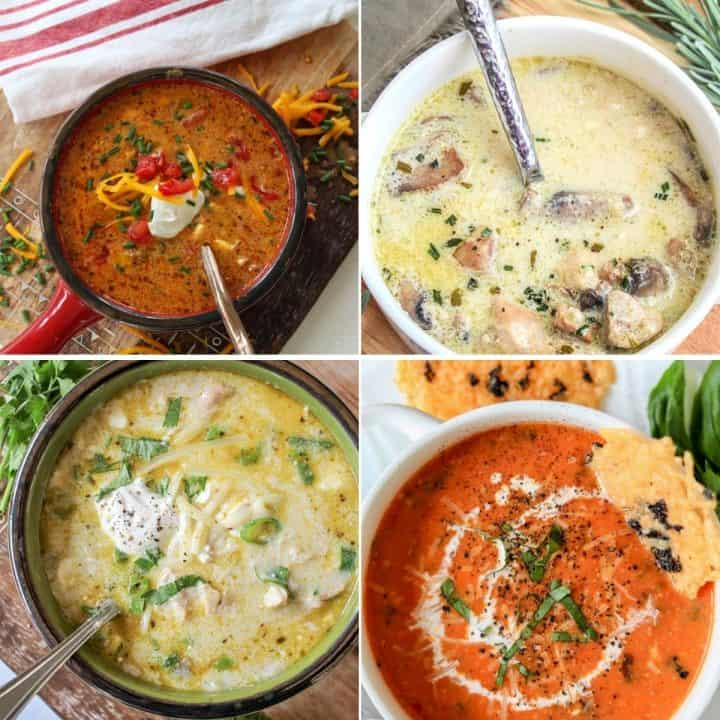Pinterest pin featuring four delicious crockpot soups to make - beef taco soup, cream of chicken and mushroom, tomato basil soup, and green enchilada chicken soup