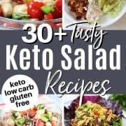 Pinterest pin featuring five keto salads you'll love - cherry tomato caprese salad, shrimp louie salad, greek salad, thai peanut salad, and antipasto salad