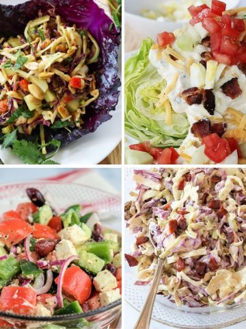 Square feature image showing 4 healthy salad recipes - Thai peanut salad, bacon blue cheese wedge salad, greek salad, and dill pickle slaw
