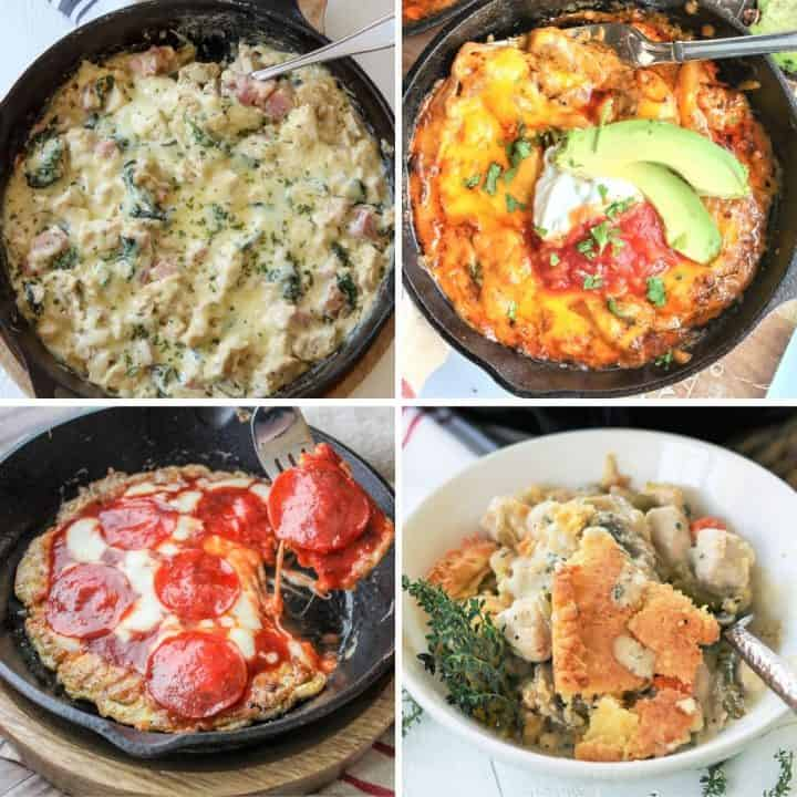 Featured image of 4 low carb and keto cast iron skillet recipes you'll love - Chicken Cordon Bleu Casserole, Chicken Fajita Bake, Pepperoni Pizza, and Chicken Pot Pie