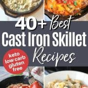 Pinterest pinnable image of 4 low carb and keto cast iron skillet recipes you'll love - Chicken Cordon Bleu Casserole, Chicken Fajita Bake, Pepperoni Pizza, and Chicken Pot Pie