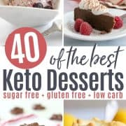 Pinterest pin featuring four delicious keto desserts to make - blueberry cheesecake ice cream, chocolate torte, peanut clusters, and lemon meringue custard.