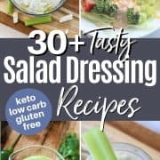 Pinterest pinnable image of 4 low carb and keto salad dressings - Thousand Island, Blue Cheese, Avocado Lime, and Tzatziki (Greek Dressing)