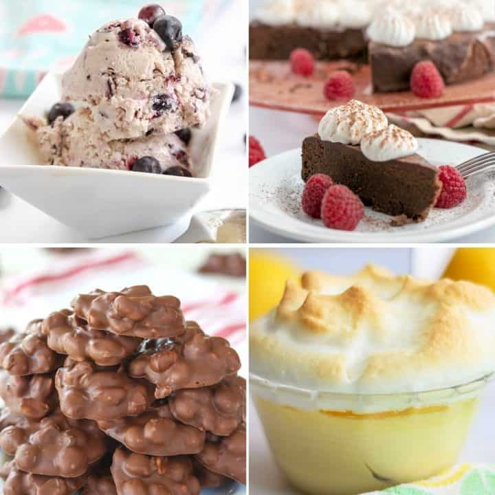 Feature imaage of four delicious keto desserts to make - blueberry cheesecake ice cream, chocolate torte, peanut clusters, and lemon meringue custard.