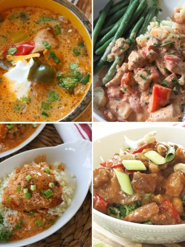 Square feature image with four images of delicious slow cooker chicken recipes, chicken fajita soup, chicken with creamy cajun sauce, chicken paprika, and chicken sesame.