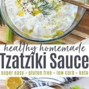 Pinterest pin featuring a top down view of a bowl of homemade healthy tzatziki sauce garnished with feta and dill.