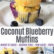 Delicious coconut blueberry muffins stacked on top of each other on a white plate and scattered on a wooden board with blueberries.