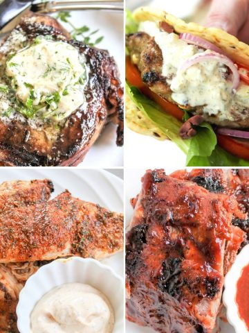 Square feature image of 4 quick and easy grilling recipes that are low carb and keto