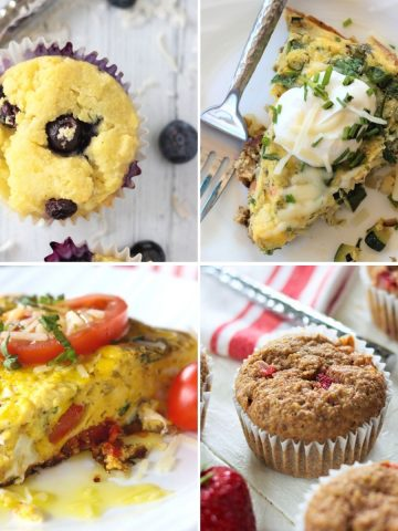 Square feature image featuring four low carb and keto breakfast ideas - blueberry muffins, smoked salmon frittata, strawberry banana flaxseed muffins, and caprese frittata