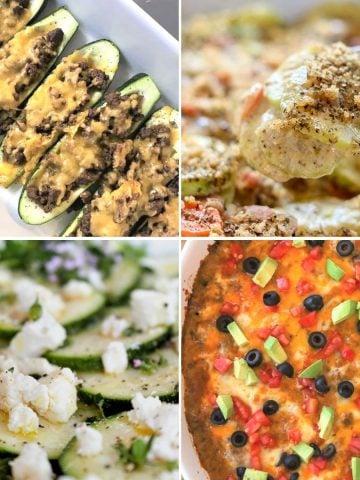 Square feature image of four low carb and keto recipes with zucchini. Zucchini taco boats, zucchini and carrot casserole, zucchini carpaccio, and zucchini ground beef mexican casserole