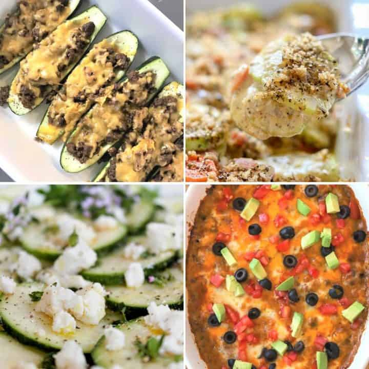 Square feature image of four low carb and keto recipes with zucchini. Zucchini taco boats, zucchini and carrot casserole, zucchini carpaccio, and zucchini ground beef mexican casserole
