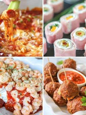 Feature image with four images of our favorite low carb keto appetizers