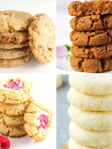 Square feature image featuring 4 tasty and healthy cookie recipes you'll love to make and eat!