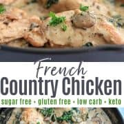 Pinterest pinnable image of french country chicken in a cast iron skillet garnished with parsley and ready to be served..