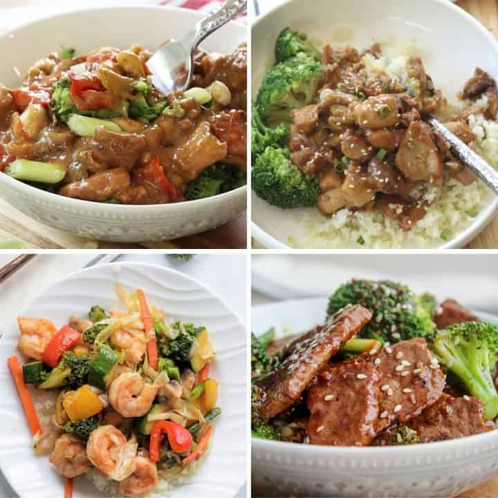 Square feature image of 4 low carb and keto chinese takout recipes - Cashew Chicken, Shrimp Fry, Mongolian Beef, and Sesame Chicken